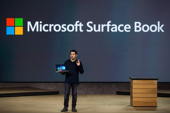 Microsoft Corporate Vice President Panos Panay introduces a new laptop titled the Microsoft Surface Book at a media event for new Microsoft products on October 6, 2015 in New York City.