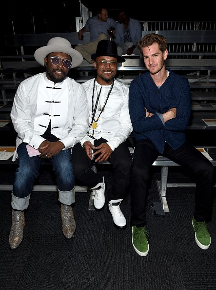 Rappers will.i.am and apl.de.ap of Black Eyed Peas and actor Andrew Garfield attended the Opening Ceremony fashion show Front Row.