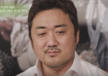 """""""Train To Busan"""" actor Ma Dong Seok during an interview with the cast members."""