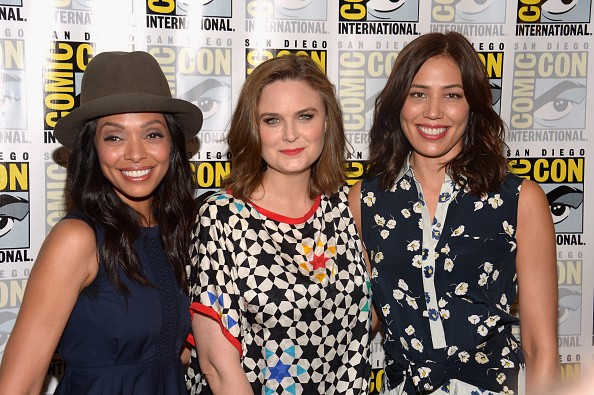 """Actresses Tamara Taylor, Emily Deschanel, and Michaela Conlin attended Comic-Con International 2016 """"Bones"""" press line at Hilton Bayfront on July 22 in San Diego, California."""