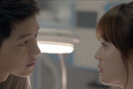 South Korean actors Song Joong Ki and Song Hye Kyo in an intimate scene in the hit drama 'Descendants of the Sun'