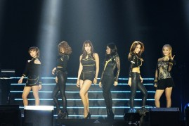 KPop group T-ara during their performance at Hefei Sports Center.