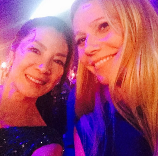 """""""Crouching Tiger, Hidden Dragon"""" star Michelle Yeoh and Gwyneth Paltrow attended the inaugural amfAR gala in Hong Kong in 2015."""
