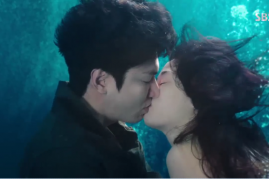 Lee Min Ho and Jun Ji Hyun kissing in a scene from