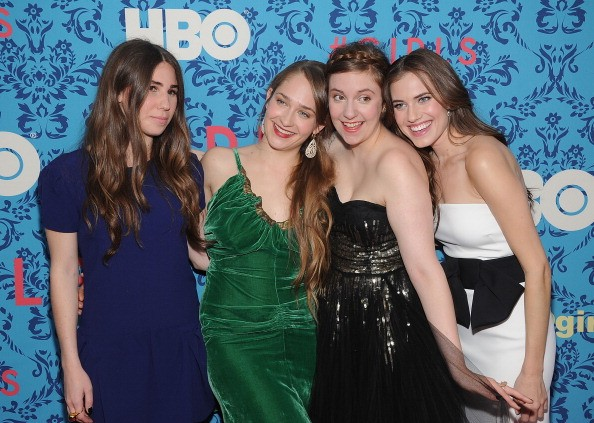 Zosia Mamet, Jemima Kirke, producer Lena Dunham and Allison Williams attend the HBO with the Cinema Society host the New York premiere of HBO's 'Girls' at the School of Visual Arts Theater on April 4, 2012 in New York City.