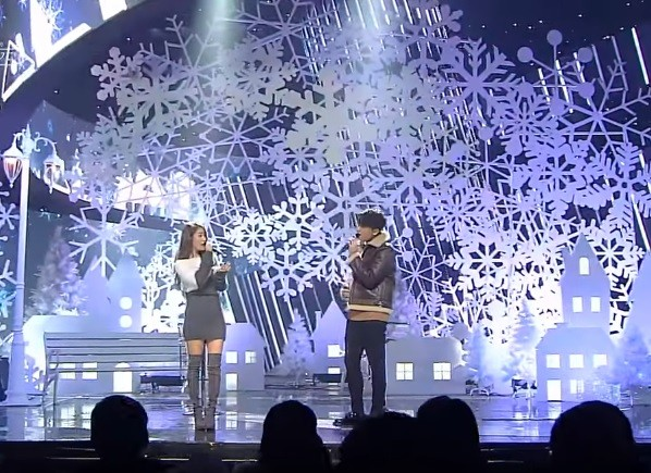 Soyu and JungGiGo performs 'Love Is One More Than Separation' live on the stage of 'Inkigayo'.