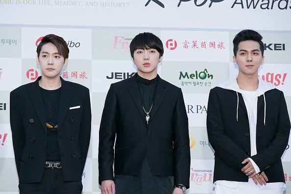 Kang Seung-Yoon (C) and boy band Winner attends the 4th Gaon Chart K-Pop Awards on January 28, 2015 in Seoul, South Korea.