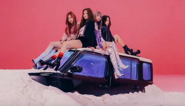"""A still scene from the music video of Black Pink's """"Whistle""""."""