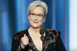 Meryl Streep shown during her Golden Globes speech in a live interview with Dana White slamming the actress for her remarks against MMA.