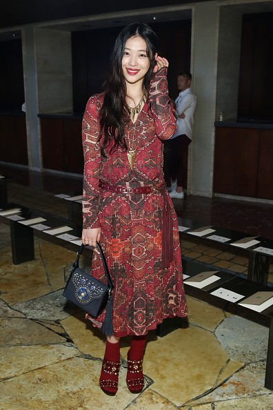 Former f(x) member Sulli in attendance during the Tory Burch Spring 2016 in New York.