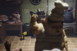 Six tries to sneak around the scary chef in