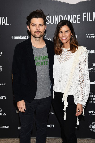"""Adam Scott and producer Naomi Scott attended """"Fun Mom Dinner"""" Premiere during the 2017 Sundance Film Festival at Eccles Center Theatre on Jan. 27 in Park City, Utah."""