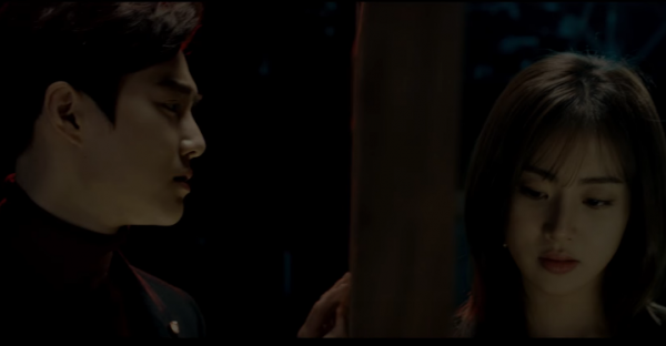 """EXO's Suho and Kang Sora in """"Curtain"""" MV, a collaboration between Suho and pianist Song Young Joo."""