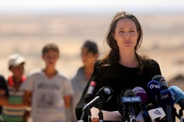 US actress and UNHCR special envoy and Goodwill Ambassador Angelina Jolie speaks during a press conference at Al- Azraq camp for Syrian refugees on September 9, 2016, in Azraq, Jordan.