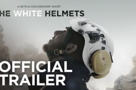 """The image features """"The White Helmets"""" documentary film."""