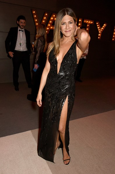"""The image depicts Jennifer Aniston at the """"89th Academy Awards"""" night post-party."""