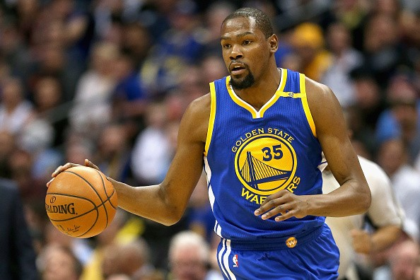 Kevin Durant in the game against the Denver Nuggets on Feb. 13, 2017 in Denver,Colorado.