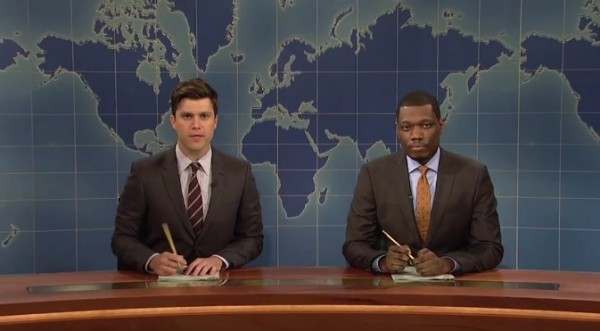 Colin Jost and Michael Che hosts 'Weekend Update' on 'Saturday Night Live'
