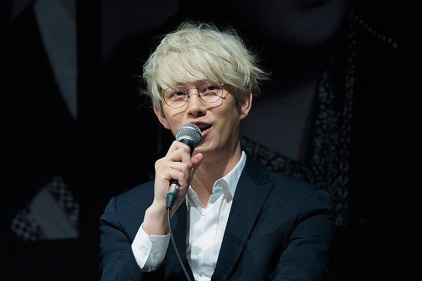 Heechul during a press conference for Super Junior's 10th anniversary.