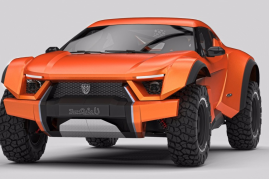 The SandRacer is designed for the desert yet road legal, capable of riding dunes and the road,  in style, with the distinctive performance and look of a supercar .