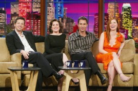 The cast of 'Will and Grace', (L to R) Sean Hayes, Megan Mullally, Eric McCormack and Debra Messing appear on 'The Tonight Show with Jay Leno' at the NBC Studios on September 13, 2004 in Burbank, California