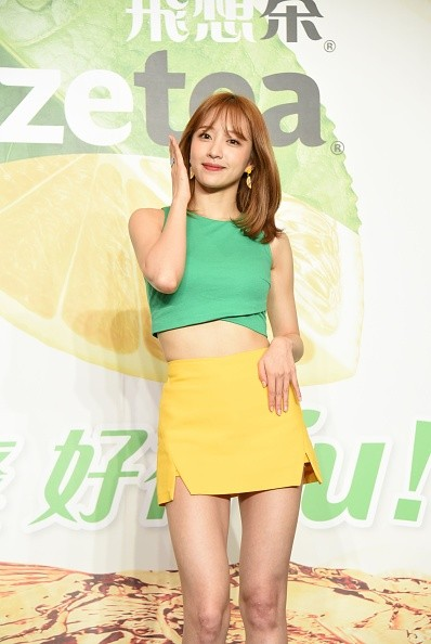 EXID's Hani during a beverage promotion in Taiwan.
