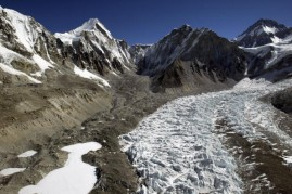 An aerial photograph of the Khumbu Icefall along Everest's West Shoulder including Changtse at 5200m and Khumbutse-6640m May 15, 2003 on the Nepal-Tibet border