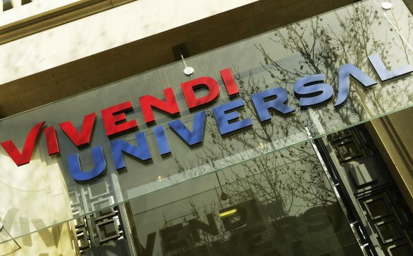 The Corporate logo of Vivendi Universal is pictured on March 17, 2004 in Paris.