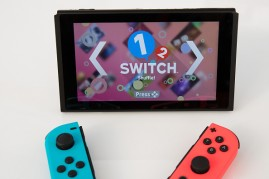 The new Nintendo Switch game console is displayed at a pop-up Nintendo venue in Madison Square Park, March 3, 2017 in New York City.