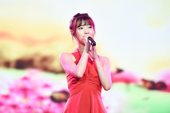 Hallyu star IU during her concert in Wuhan, Hubei Province of China.