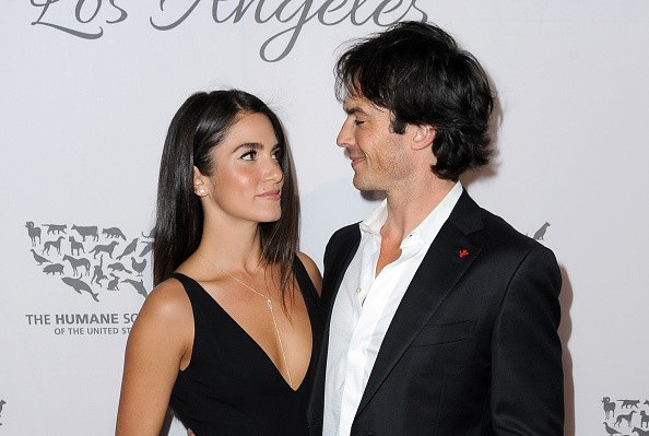 Actors Nikki Reed (L) and Ian Somerhalder attend The Humane Society of the United States' to the Rescue Gala at Paramount Studios on May 7, 2016 in Hollywood, California.