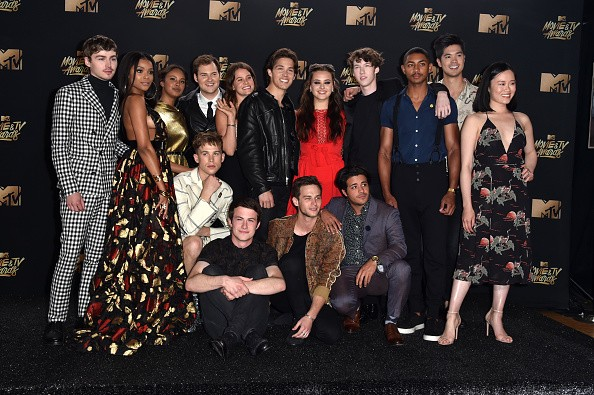 Cast of '13 Reasons Why' poses in the press room during the 2017 MTV Movie And TV Awards
