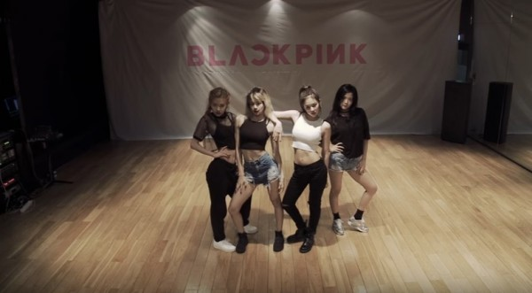 "BLACKPINK in a dance practice video of ""WHISTLE."""