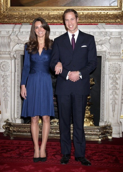 Prince William and Kate Middleton pose for photographs in the State Apartments of St James Palace on November 16, 2010 in London, England.